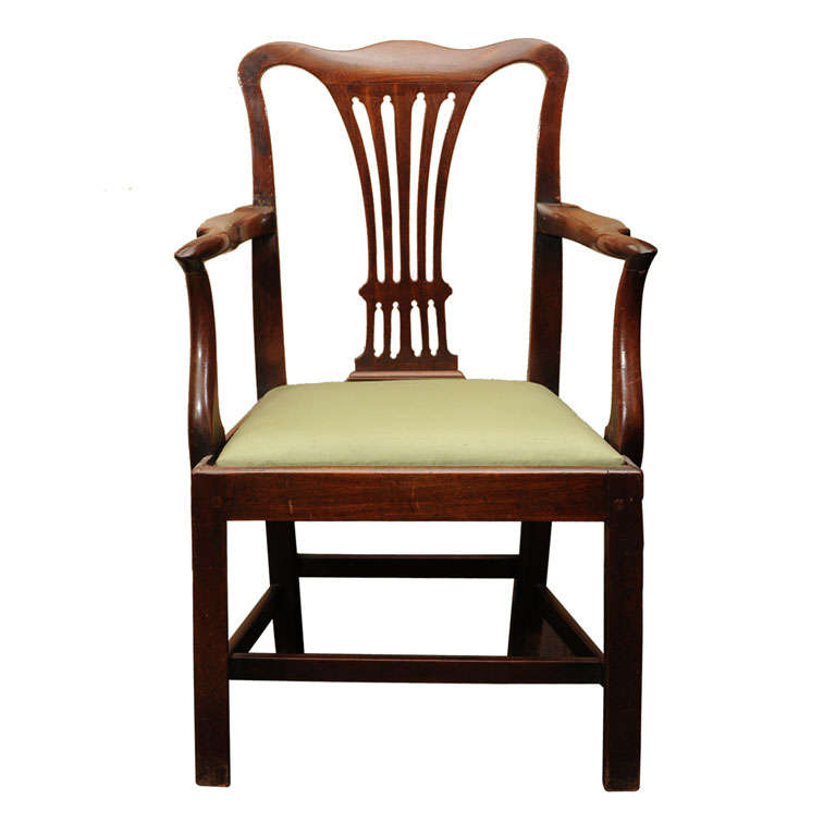 Georgian Mahogany Armchair with drop seat