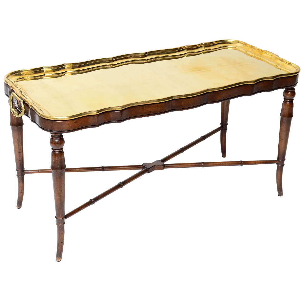 Classical Cocktail Table With Brass Tray At 1stdibs