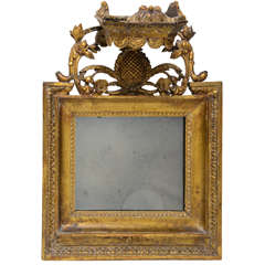 Late 18th c. Small Gilt Wood Mirror with Crown