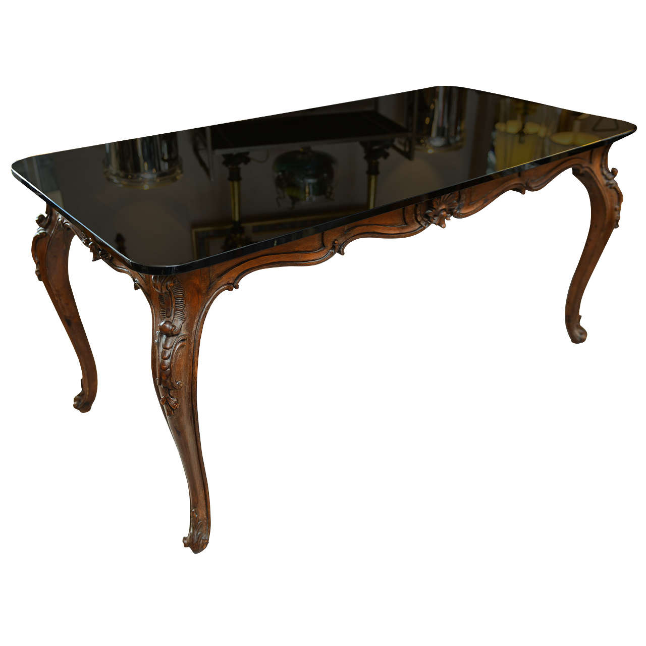 Louis Xv Style Table With Smoked Glass Top At 1stdibs