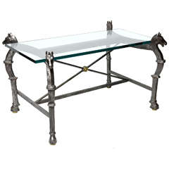 Neoclassical Steel & Brass Equestian Style Cocktail Table
