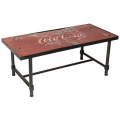 1950's Coca Cola Tin Top with Steel Base. Coffe Table