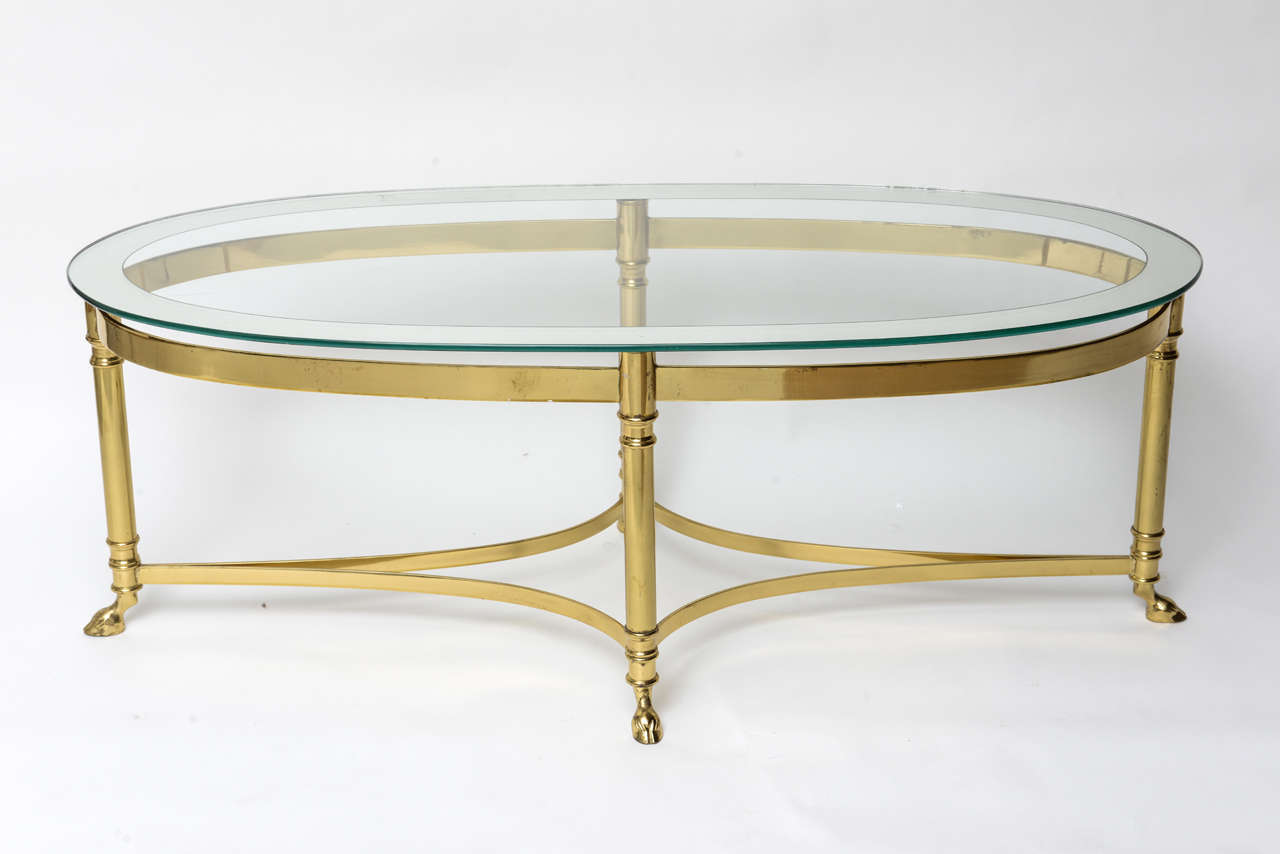 Oval Brass Coffee Table With Mirrored Rim Glass Top 2