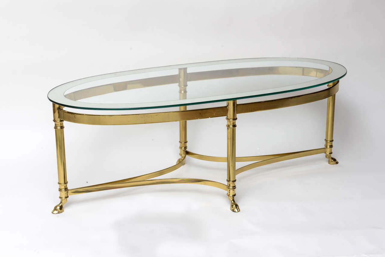 Oval Brass Coffee Table With Mirrored Rim Glass Top At 1stdibs