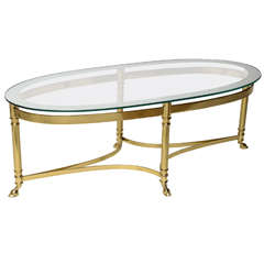 Oval Brass Coffee Table with Mirrored Rim Glass Top