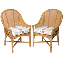 Pair of McGuire Caned Back Chairs