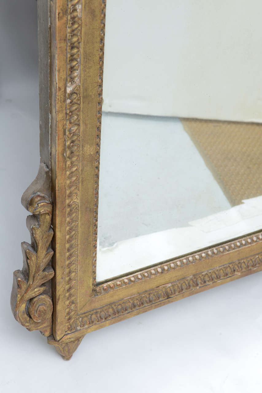 Louis XVI Neoclassical Giltwood Mirror For Sale 1