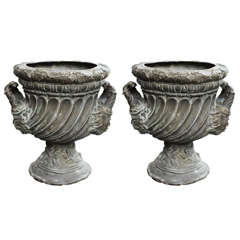 Pair of Bronze Garden Urns
