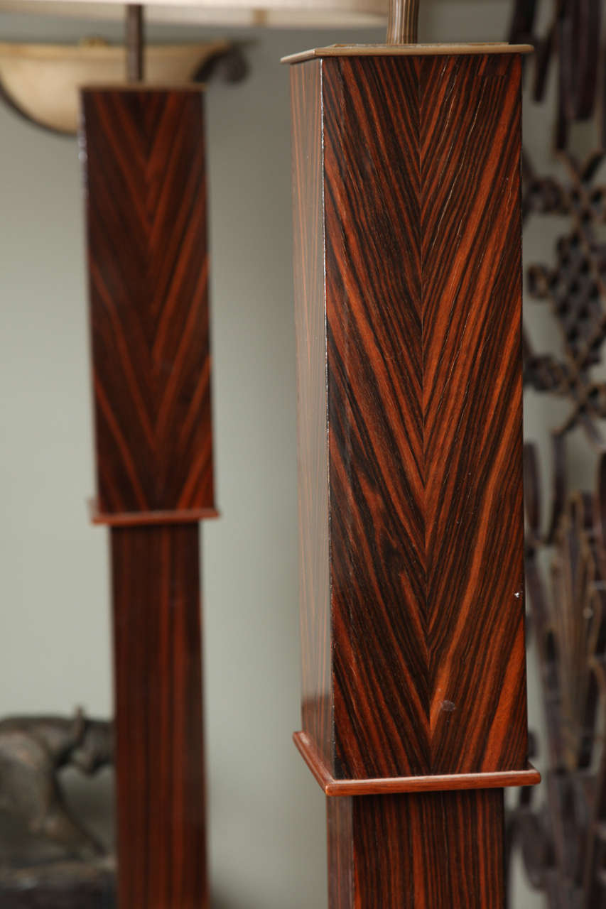 Pair of Tall Art Deco Macassar Torcheres In Good Condition For Sale In Bridgewater, CT