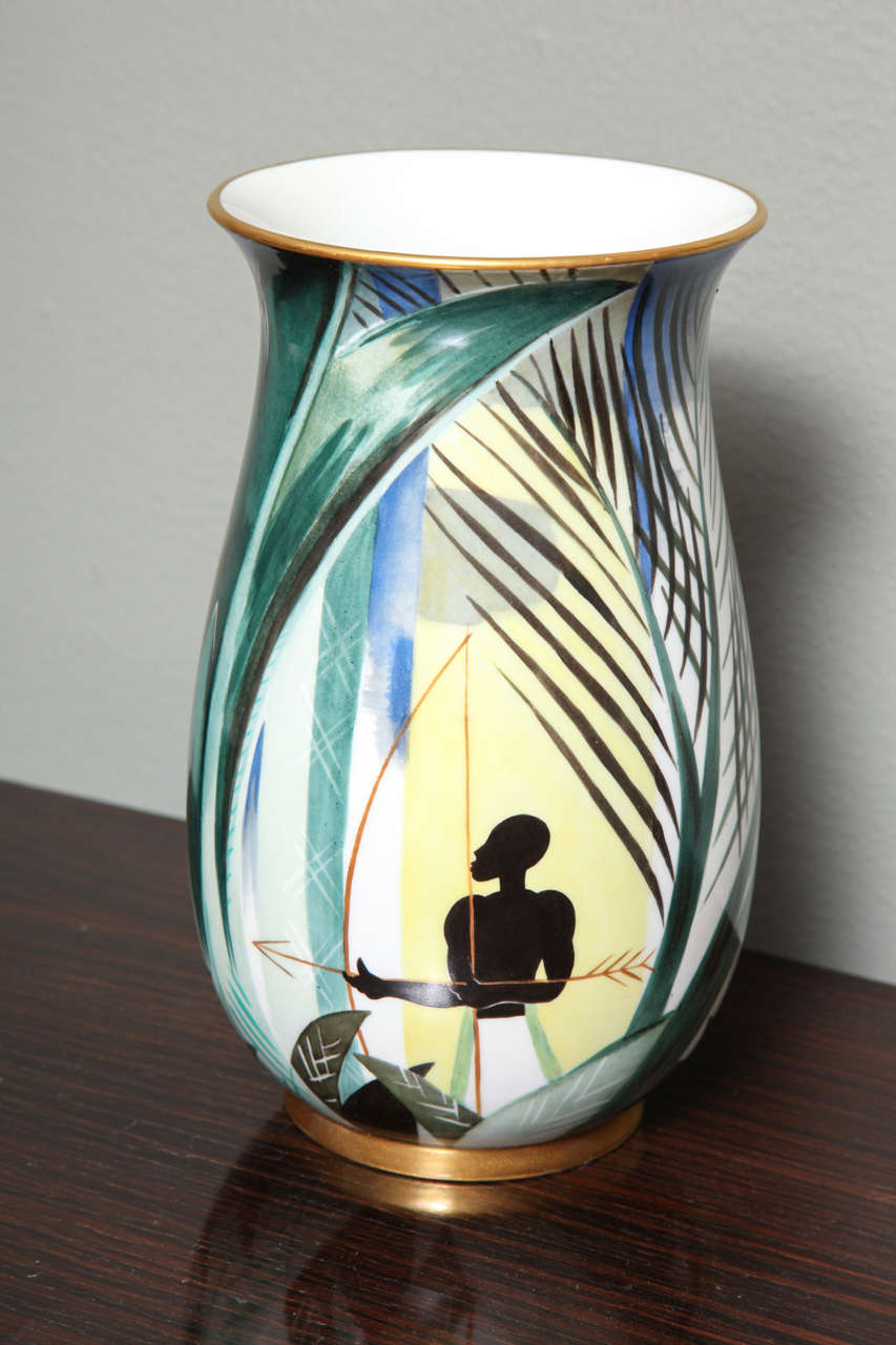 Art Deco Porcelain Vase by Robert Bonfils 3