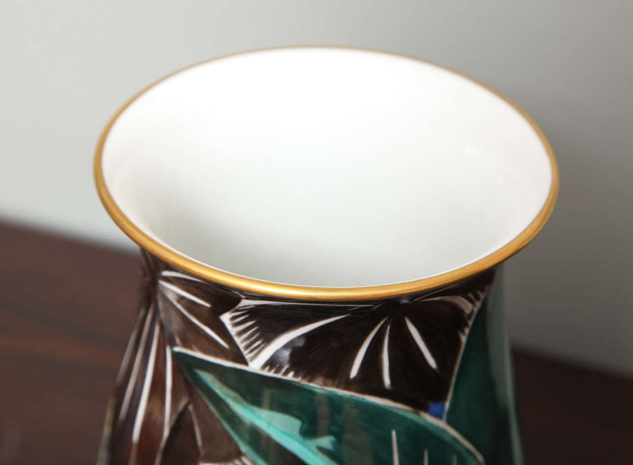 Art Deco Porcelain Vase by Robert Bonfils 7