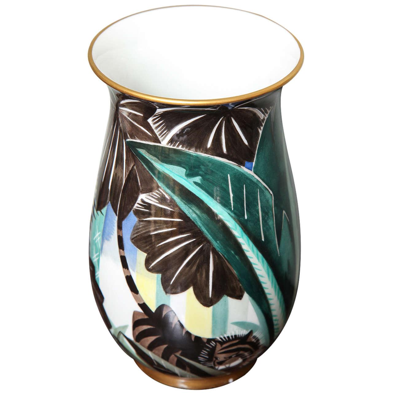 art deco porcelain vase by robert bonfils for sale at 1stdibs. Black Bedroom Furniture Sets. Home Design Ideas