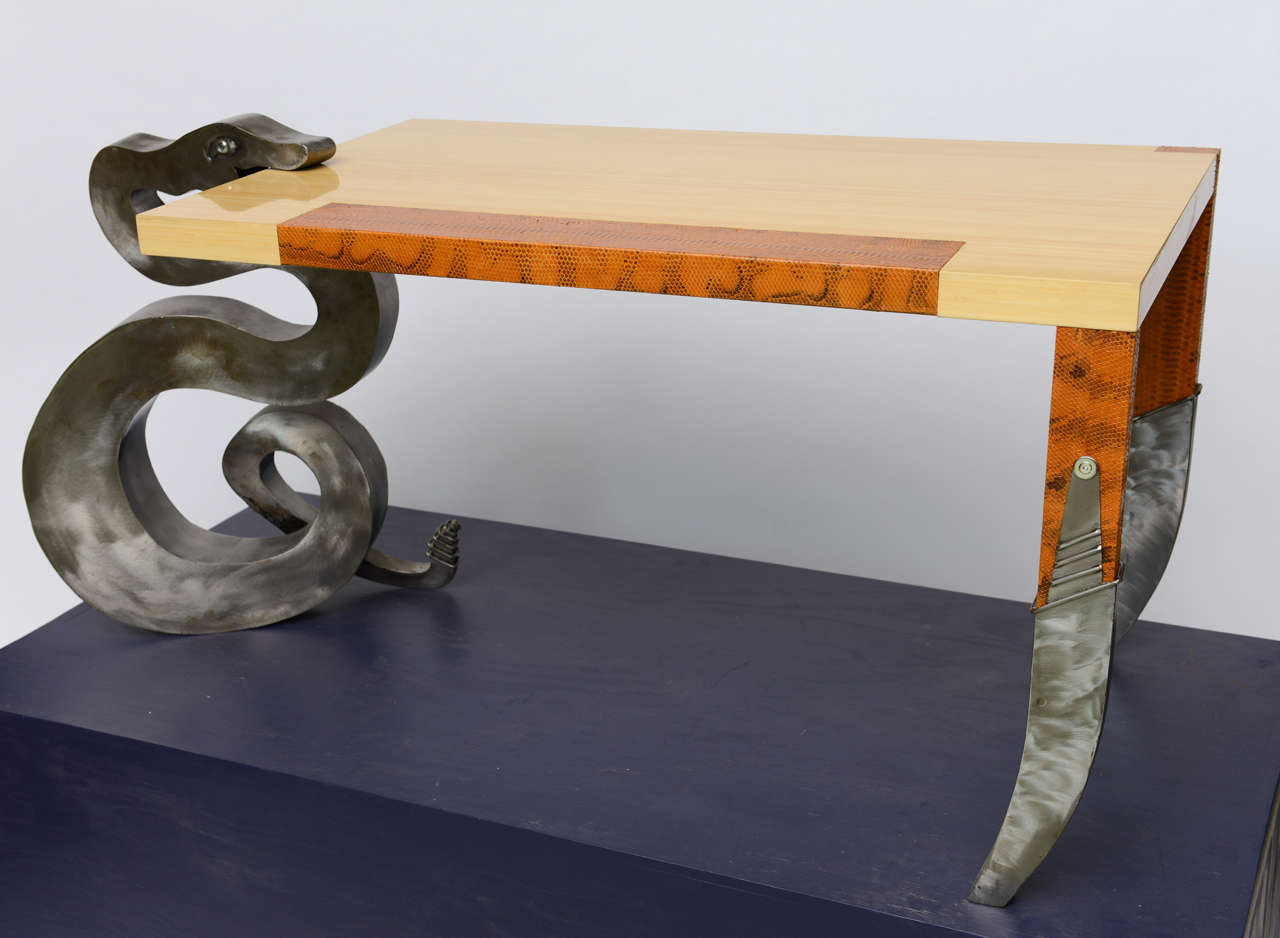 This Is A One Of Kind Sculptural Art Furniture Desk Lacquered Bamboo English