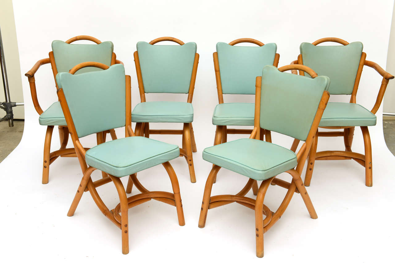 Cool mid century modern parzinger style american1960 39 s bamboo rattan 8 pc dining set with - Bamboo dining room furniture ...