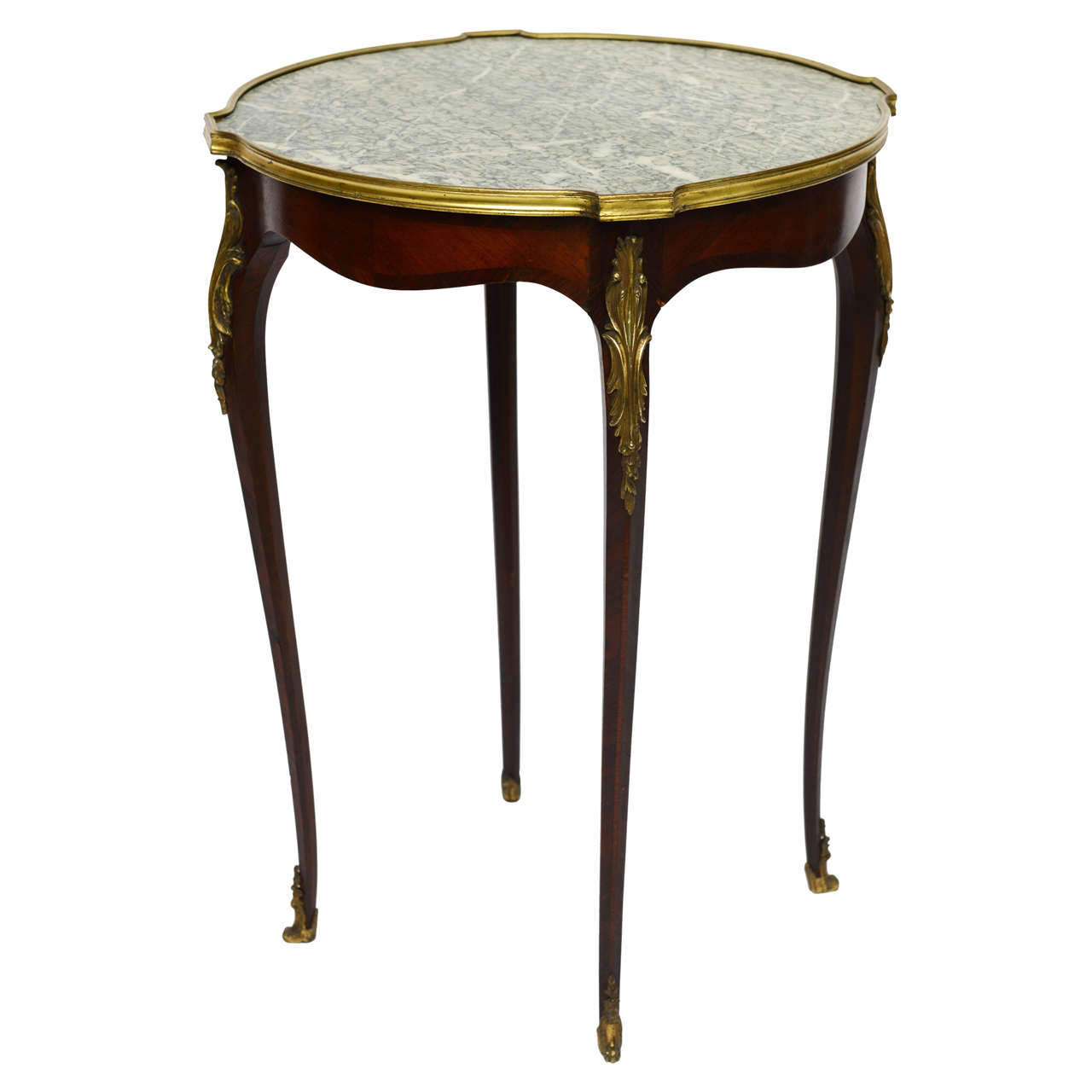 Fine Louis XV Style Side Marble Top Bouillotte Table with Provenance