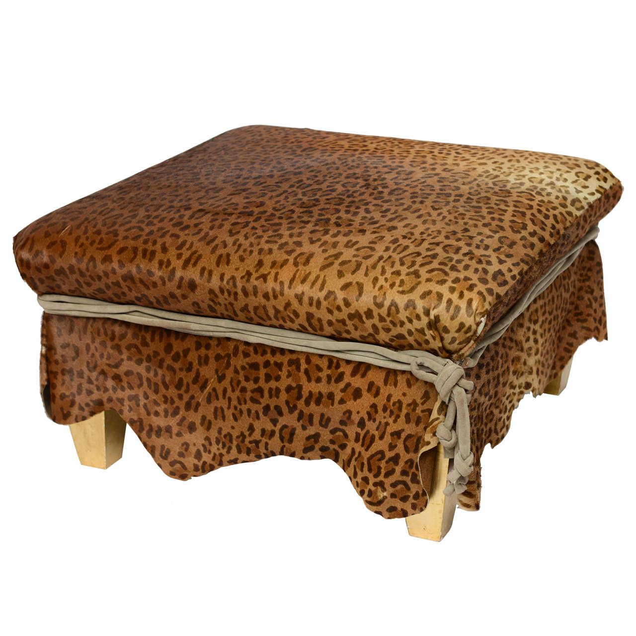 Ronn Jaffe Leopard Calf Hair Ottoman Cocktail Table