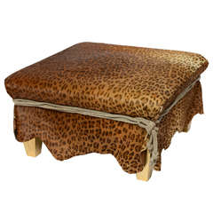 Ronn Jaffe Leopard Calf Hair Ottoman Cocktail Table