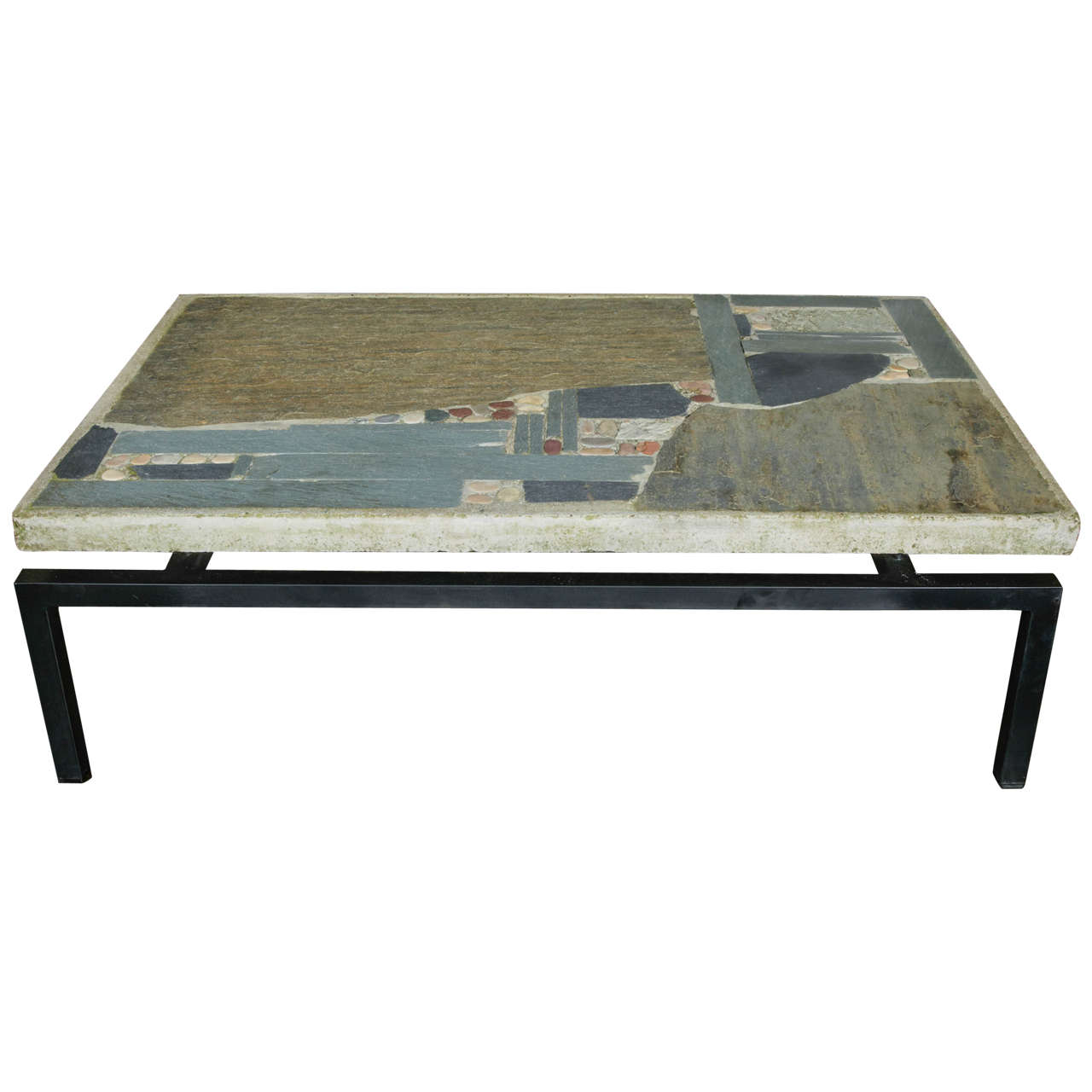Paul Kingma Coffee Table With Incrustation Of Slate And Stone Pieces At 1stdibs