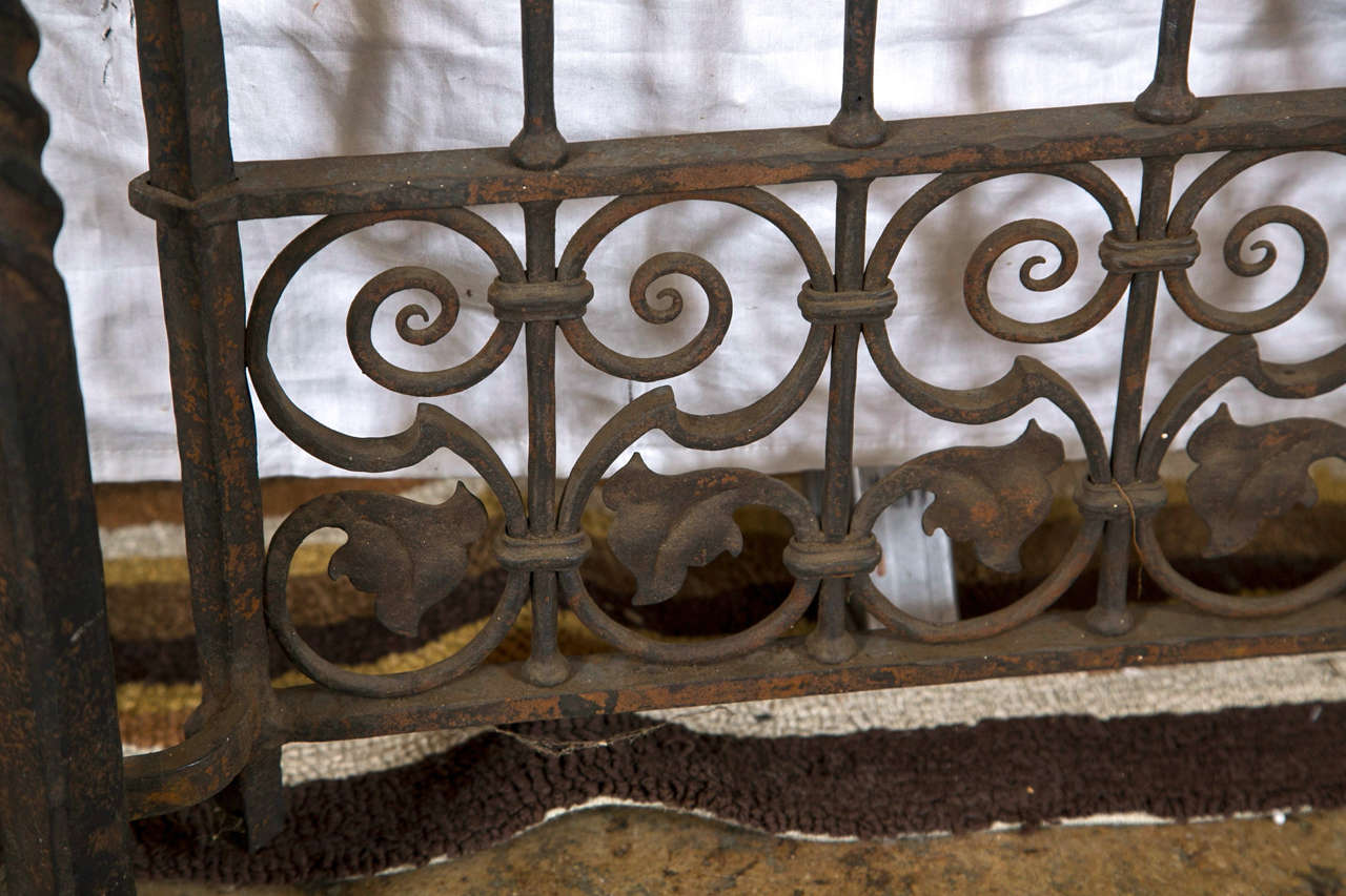 Antique wrought iron gates and panels acorn pattern for