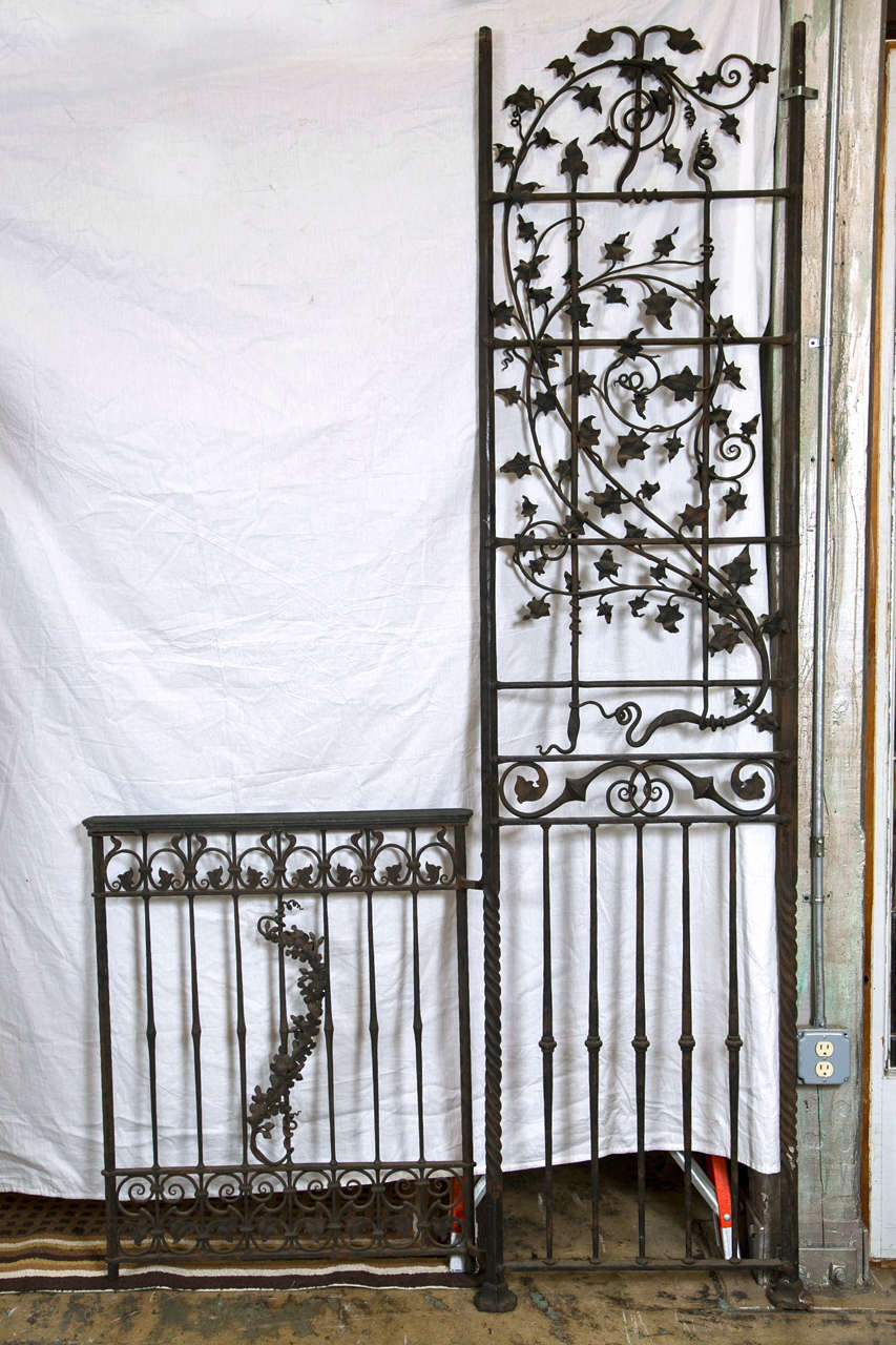 Antique Wrought iron Gates and Panels-Acorn Pattern For Sale 3