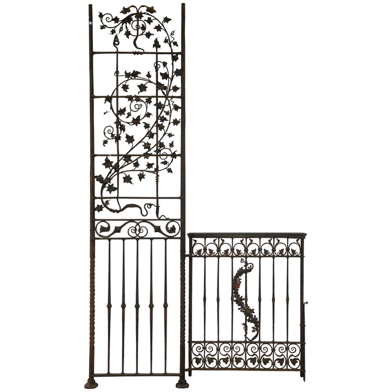 Antique Wrought iron Gates and Panels-Acorn Pattern For Sale