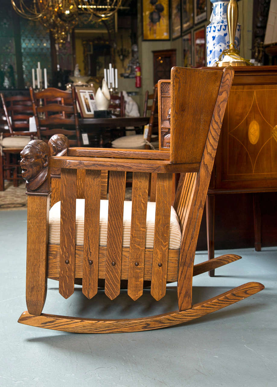 Antique Oak Mission Style Settee And Rocker At 1stdibs