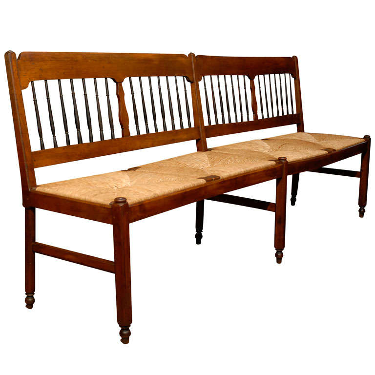 Long French Rush Seat Bench At 1stdibs