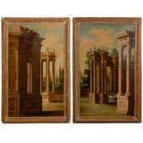 Pair of Large 19th Century Large Italian Oil on Canvas Paintings