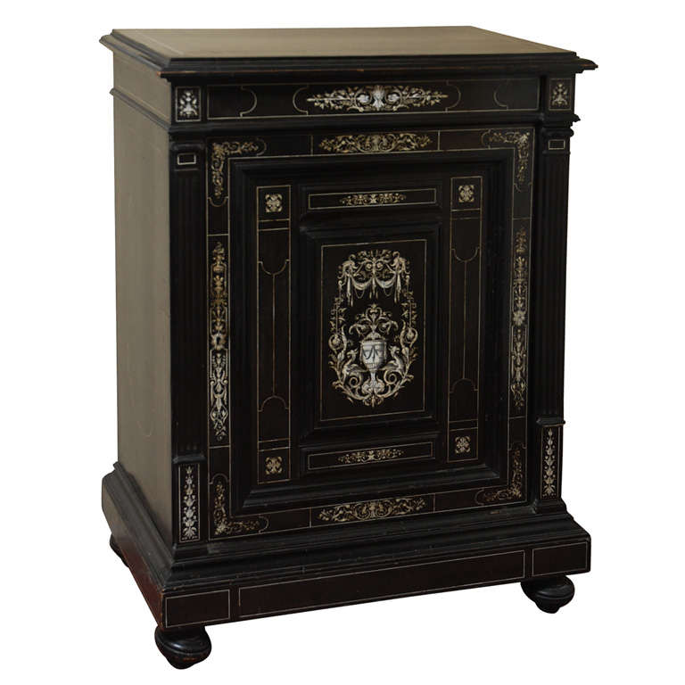 Ebony And Ivory Inlaid Italian Cabinet For Sale