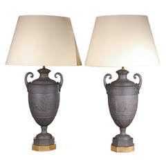 Pair of c.1900, Basalt Lamps