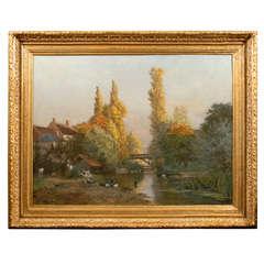 Very Large Antique Landscape Oil Painting in Antique Gilt Frame