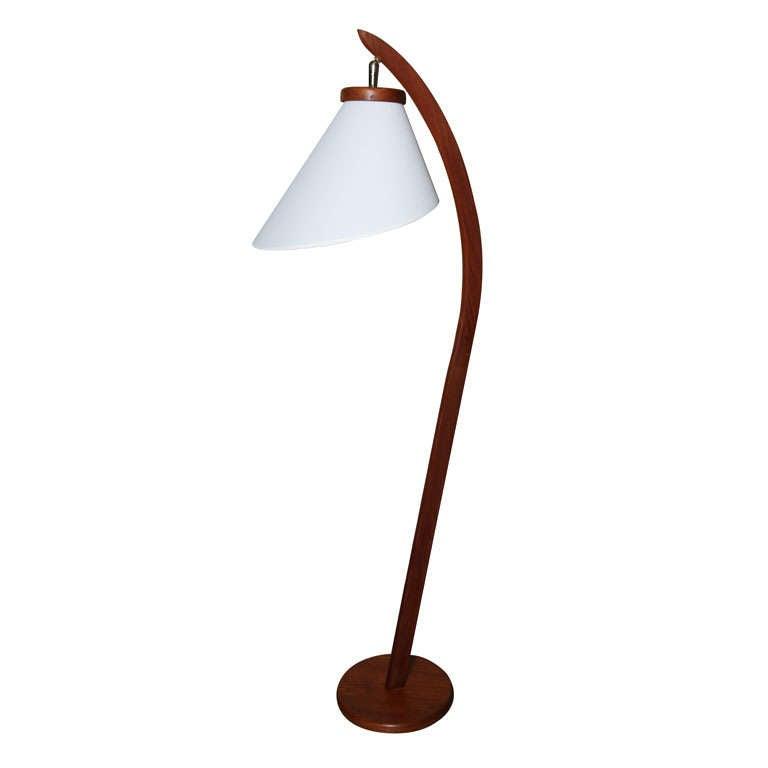 Danish Mid Century Modern Teakwood Floor Lamp