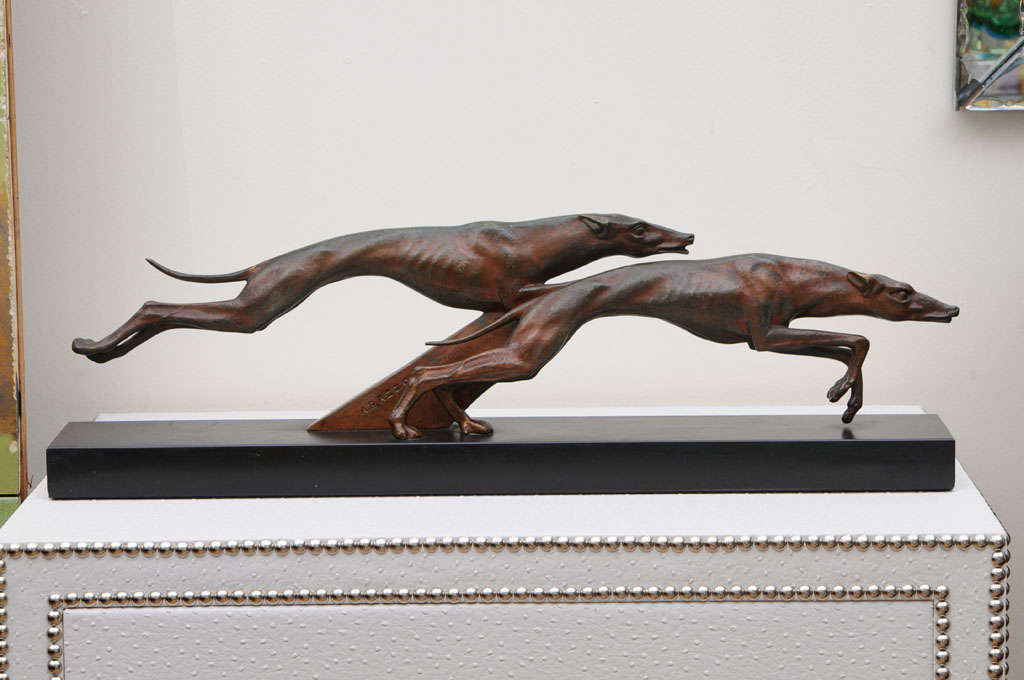 """French Art Deco Bronze Sculpture """"Greyhounds"""" by """"A. Bazzony"""" 2"""