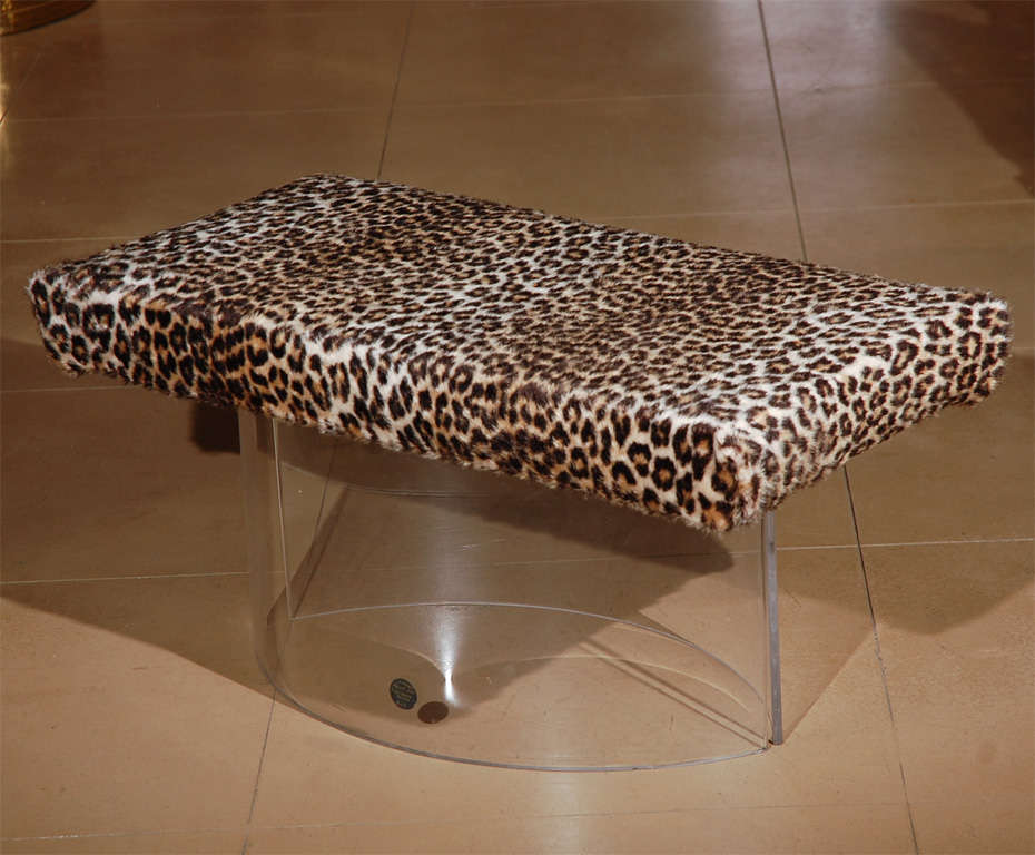 Lucite Bench With Leopard Upholstery For Sale At 1stdibs