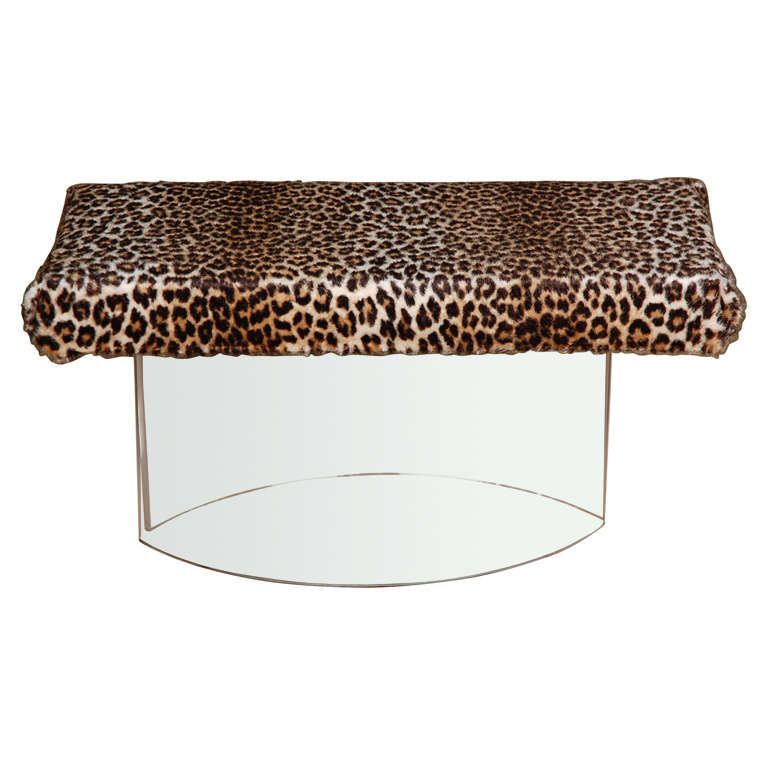 Lucite Bench With Leopard Upholstery At 1stdibs