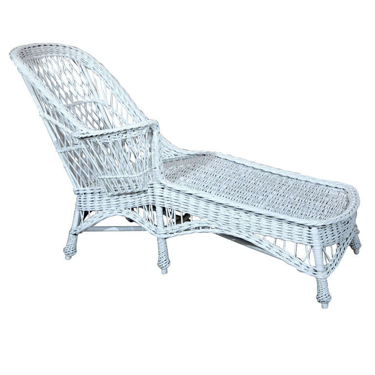 Antique wicker chaise longue at 1stdibs for Antique wicker chaise