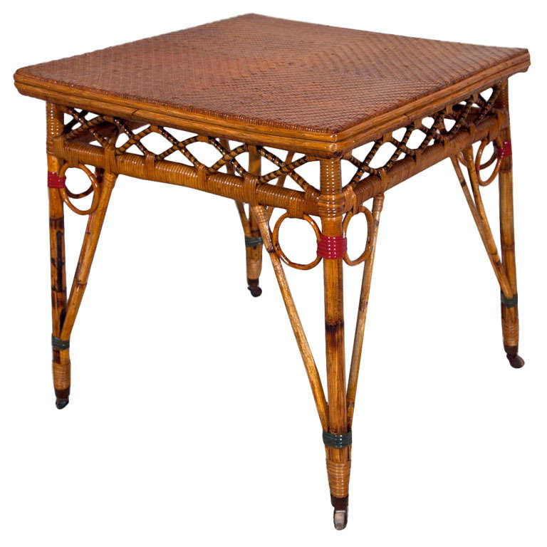 antique rattan and wicker table at 1stdibs