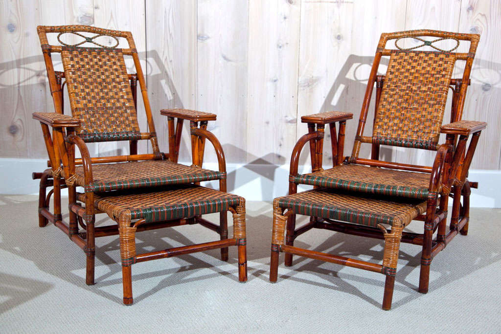Colorful Wicker/Rattan Morris Chairs with retractable foot rest. - Rattan Morris Chairs At 1stdibs