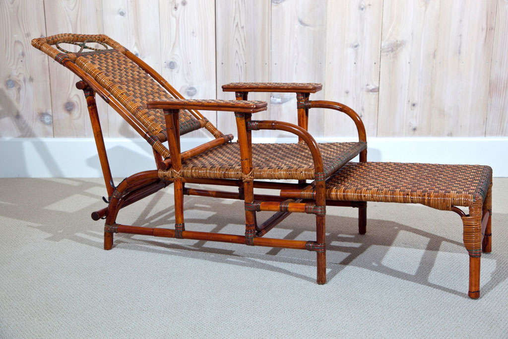 Antique Rattan Morris Chairs In Excellent Condition For Sale In Old  Saybrook, CT - Antique Rattan Morris Chairs At 1stdibs