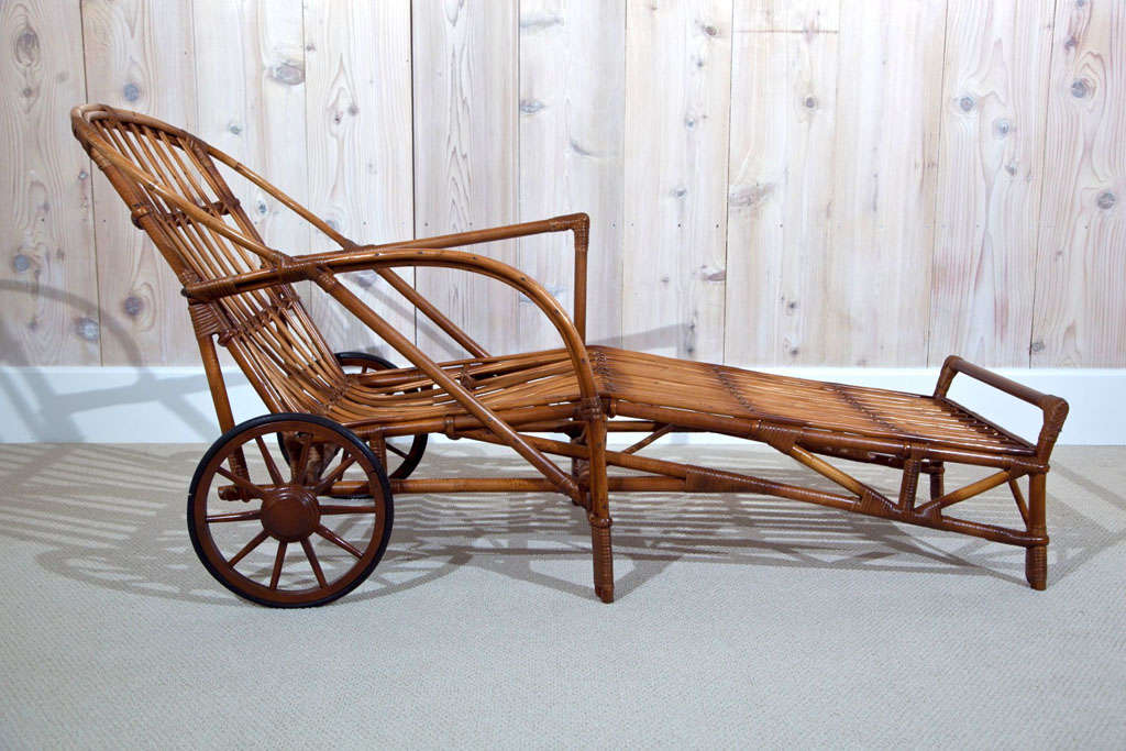 Stick Wicker Chaise At 1stdibs