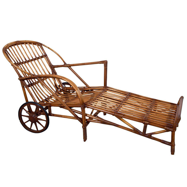 Stick wicker chaise at 1stdibs for Antique wicker chaise