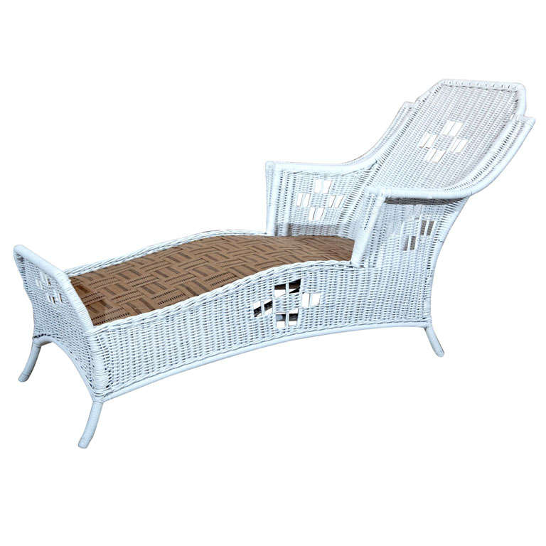 Art deco wicker chaise lounge at 1stdibs for Art deco chaise longue