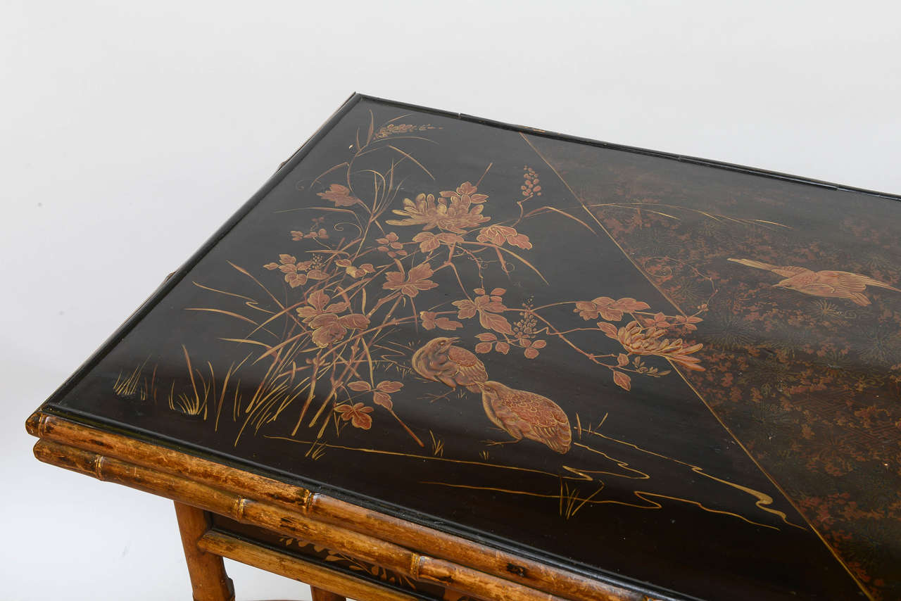 Hand Painted Rare 19th Century English Bamboo Game Table For Sale