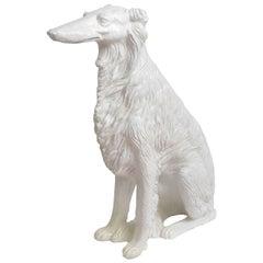 Large Glazed Terra Cotta Borzoi 'Russian Wolfhound'