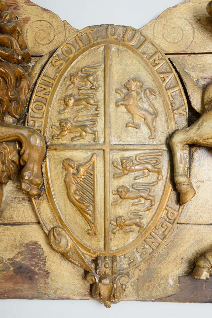 Large English 19th Century Armorial Coat Of Arms For Sale