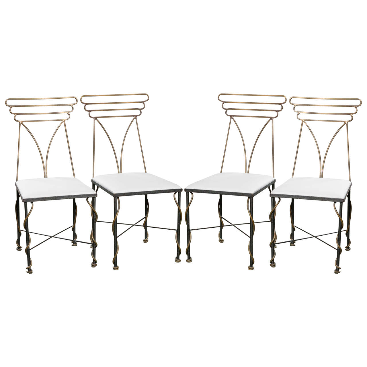 Set of Four French Bronze Chairs