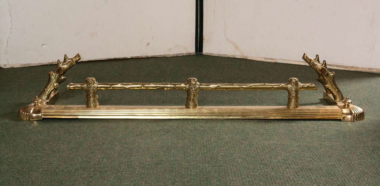 A rare English brass fireplace fender in a twig or branch motif from the mid-19th century.