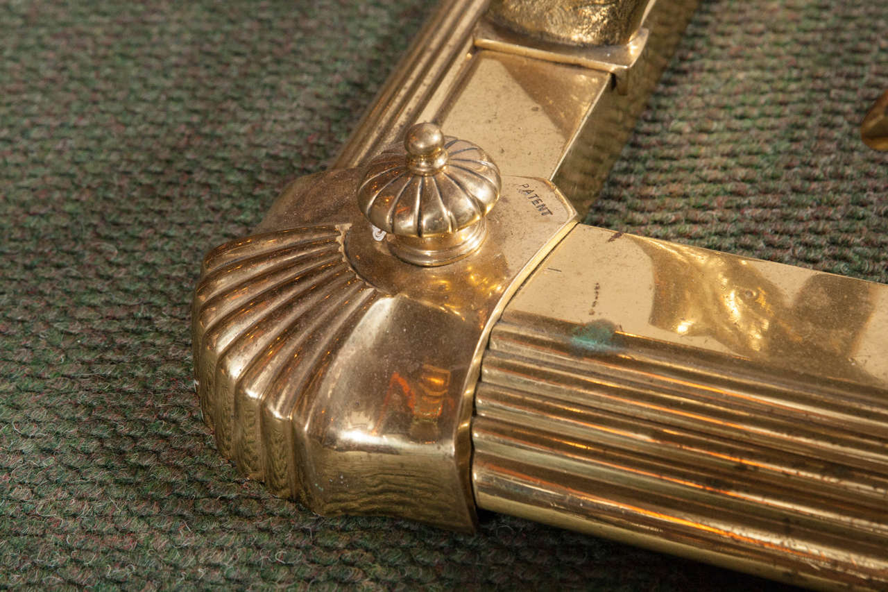English Brass Fireplace Fender For Sale 1