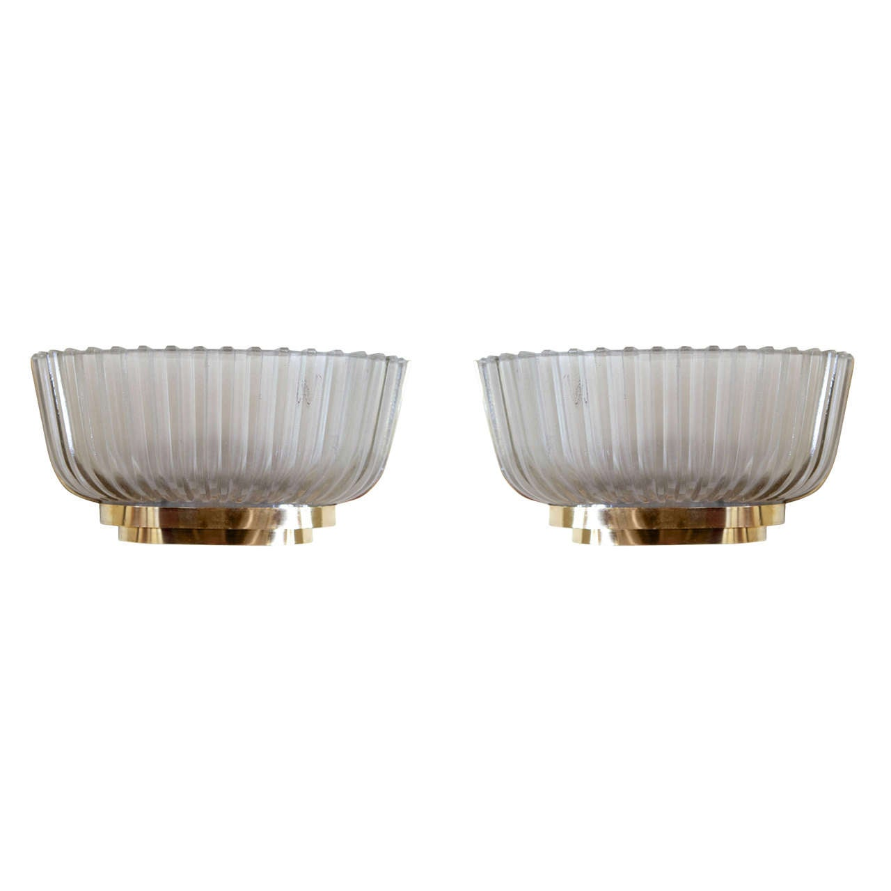 Pair of Murano Fluted Glass and Brass Sconces by Venini For Sale at 1stdibs