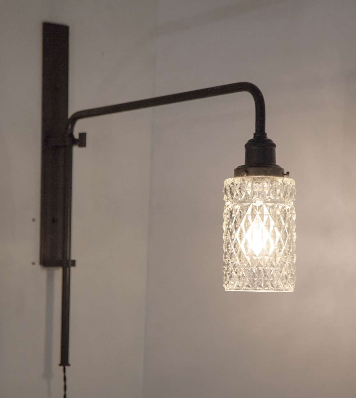 Pair of Black Metal and Cut Glass Wall Lamps at 1stdibs